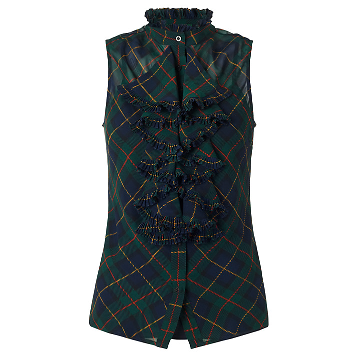 LAUREN by RALPH LAUREN Tartan Plaid Silk Top buy HERE