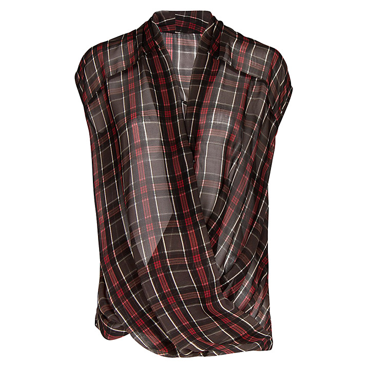 MANGO Plaid Wrap Detail Blouse buy HERE