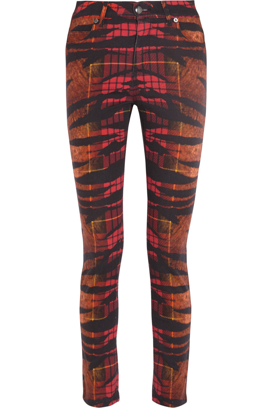 MCQ ALEXANDER McQUEEN Tiger Tartan Printed High-Waisted Skinny Jeans buy HERE