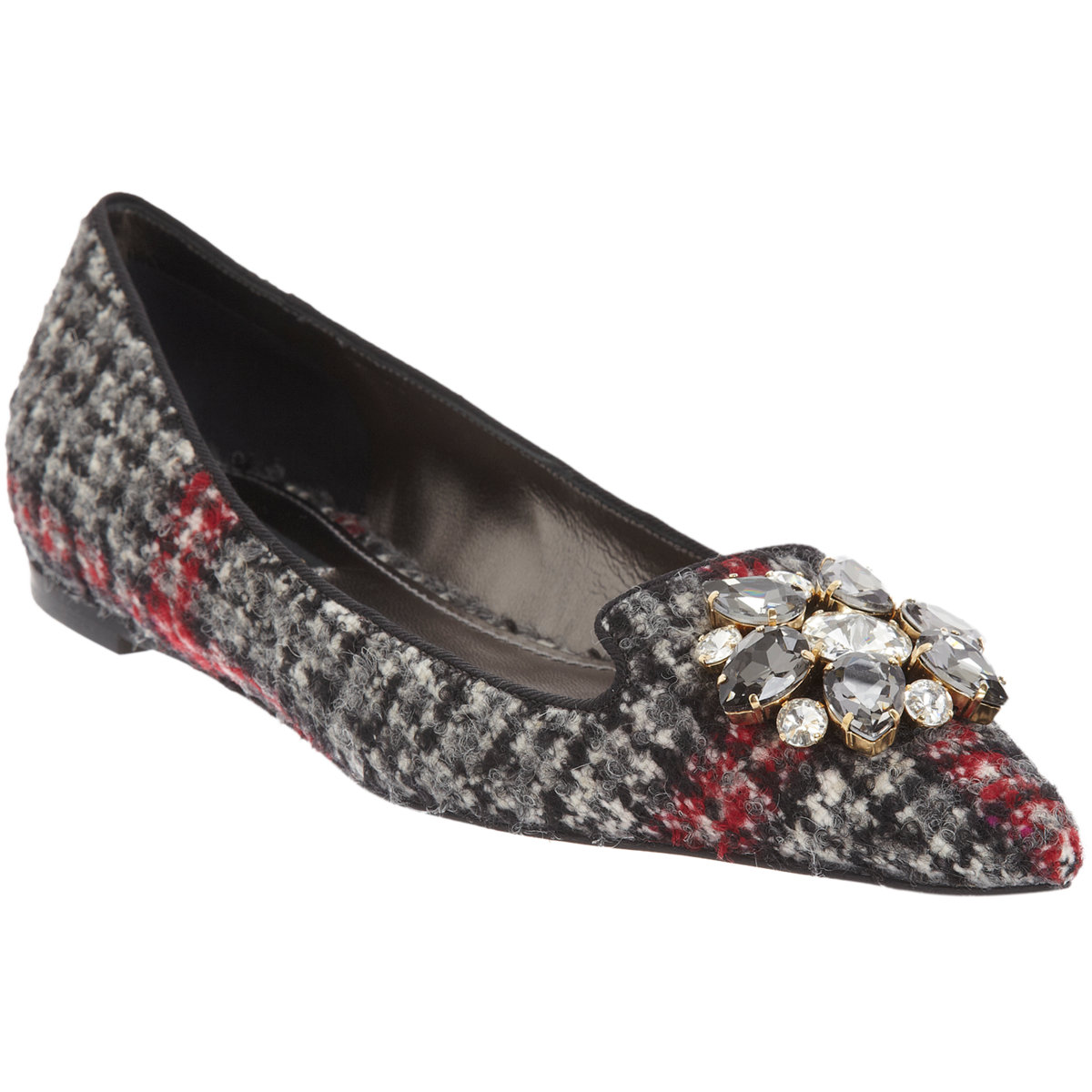 DOLCE & GABBANA Crystal-Embellished tweed Ballet Flat buy HERE