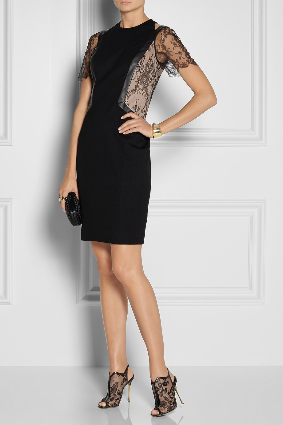 JASON WU Leather And Lace Trimmed Stretch Ponte Dress buy HERE