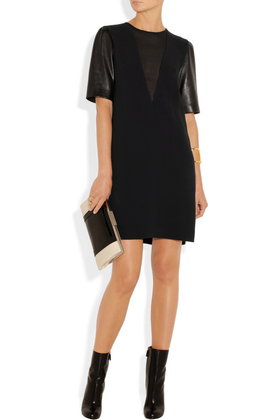 MIU MIU  Leather Sleeved Candy Shift Dress buy HERE
