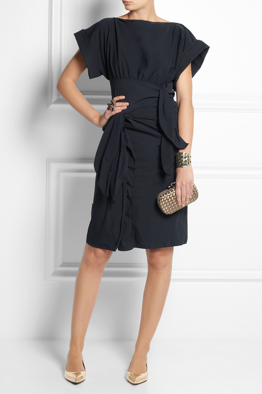 BOTTEGA VENETA Bow Embellished Stretch Cotton Blend Dress buy HERE