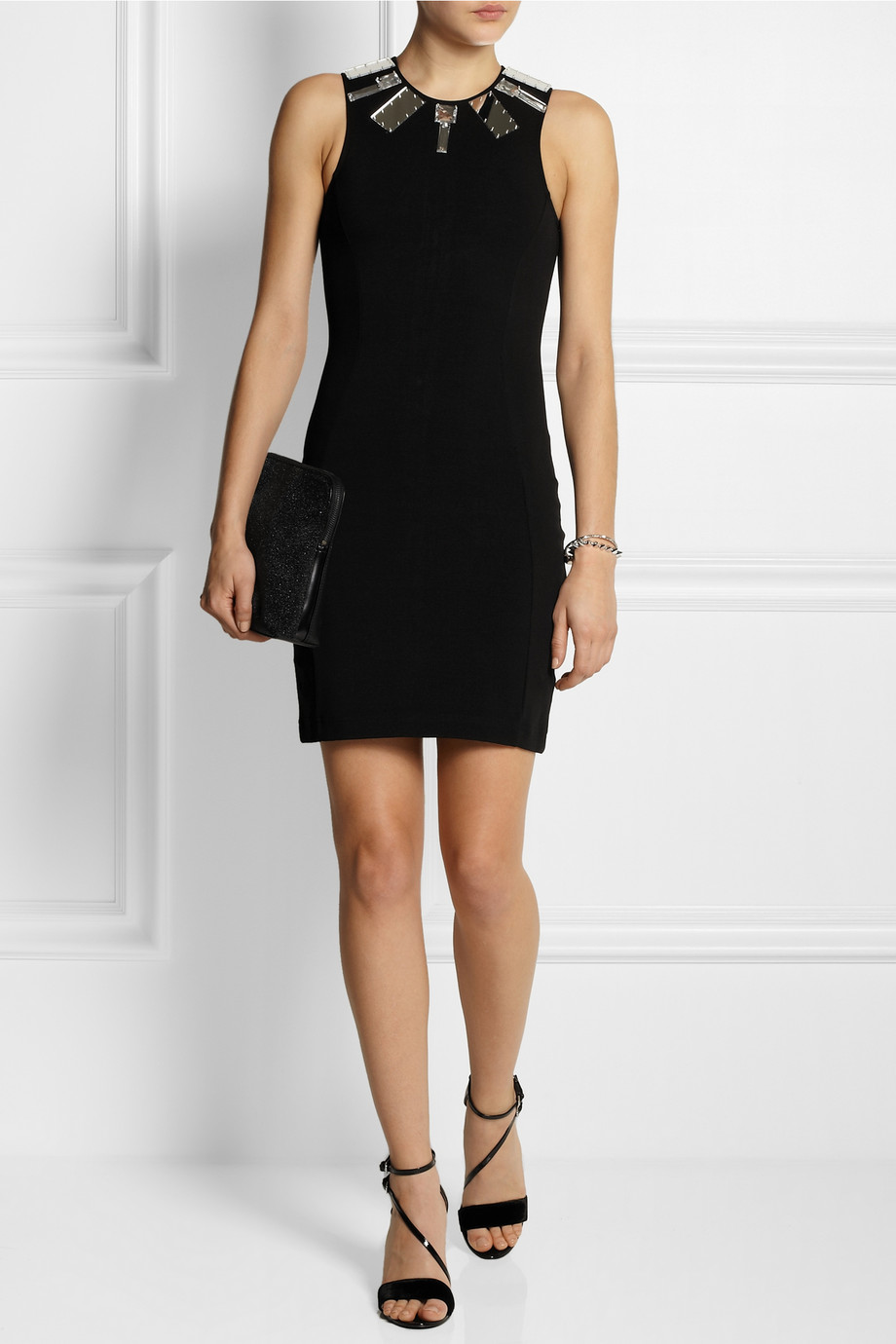 MARKUS LUPFER Mirror Embellished Stretch Jersey Mini Dress buy HERE