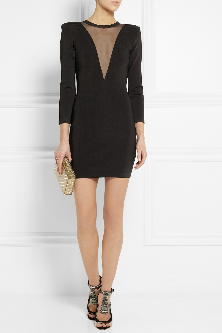 BALMAIN  Stretch Knit And Gauze Mini Dress buy HERE