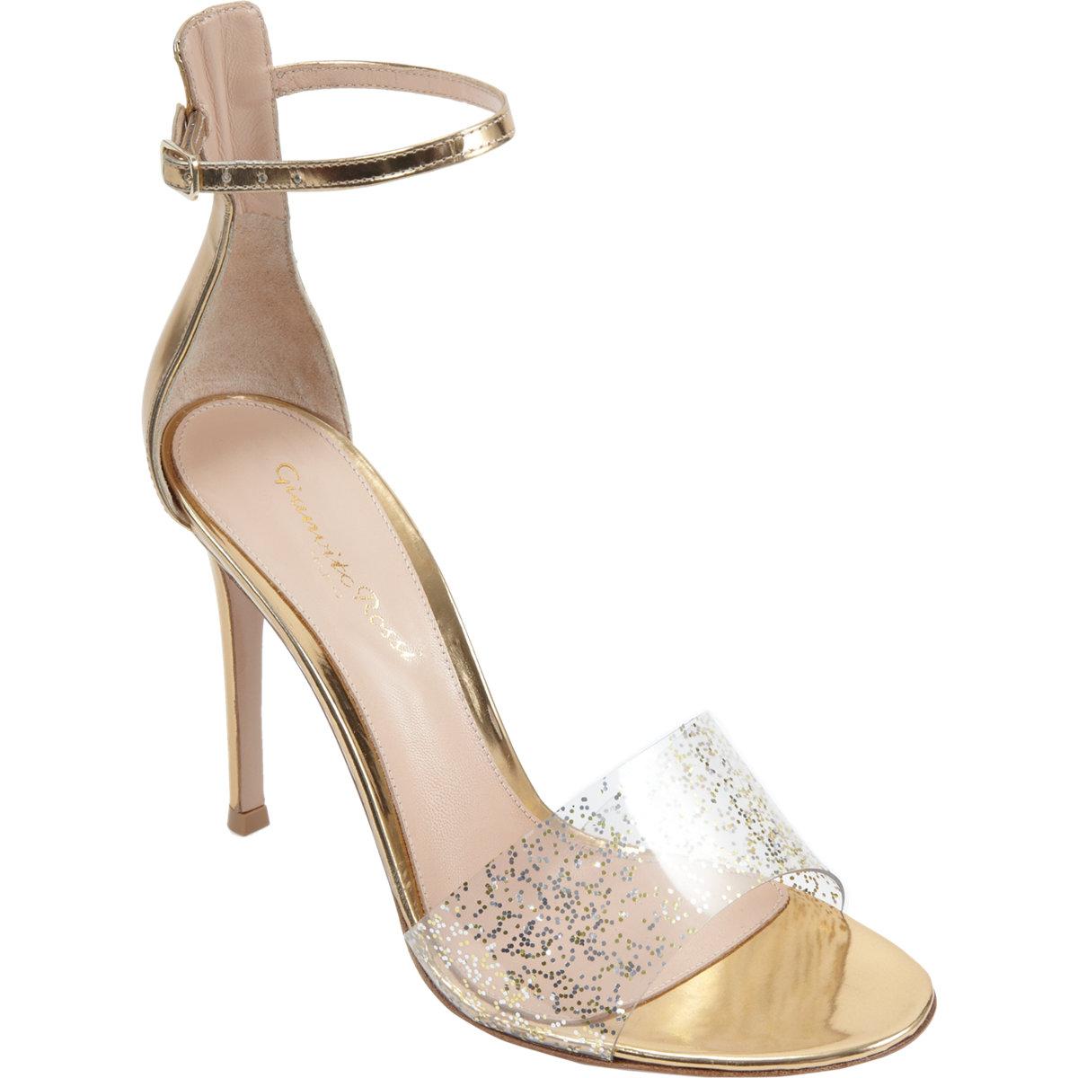 GIANVITO ROSSI Metallic Glitter Open Toe Sandal buy HERE