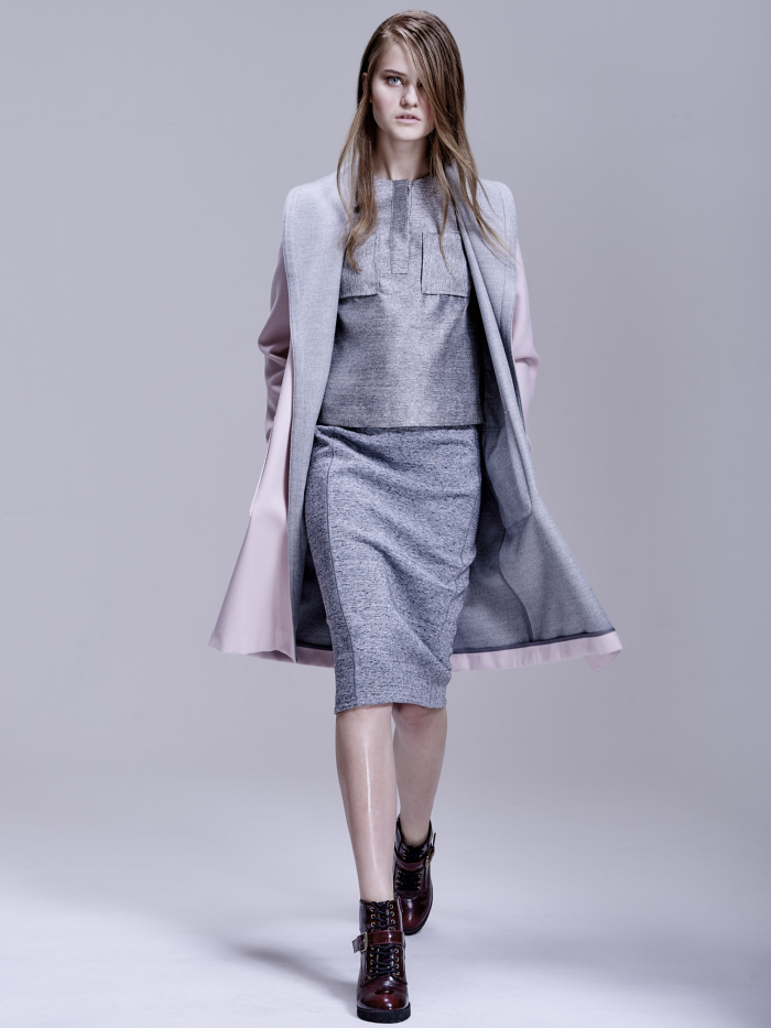 coat (gray and pink) - Oasis     top & skirt (all gray) - H&M     shoes - Aldo
